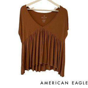 AEO Soft & Sexy Rust Smock Blouse
